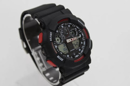 Wholesale Displayed Watches - dual display sports watch ga100 G Black Display LED Fashion army military shocking watches men Casual Watches
