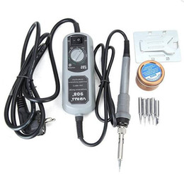 Wholesale Smd Station Welding - YIHUA 908+ 220V 60W Electric Iron Soldering Station Thermostat Mini Iron Soldering Station for SMT SMD Welding Rework Repair with 5pcs Iron