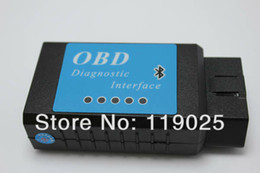 Wholesale Obdii Bluetooth - Wholesale-Free Shipping Car V1.5 ELM 327 OBDII OBD2 Bluetooth Scanner Adaptor Tool Code Reader Diagnostic Interface For Multi-brands