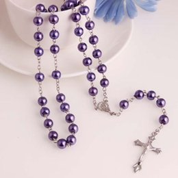 Wholesale Holy Cross Necklaces - Wholesale-Glass Pearl Catholic Holy Rosary Beads Christian Gifts The Cross Necklace