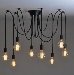 Appareils électroménagers en gros pour ampoules edison en Ligne-Gros-Mordern Nordic Edison Ampoule Lustre Vintage Loft Antique Réglable DIY E27 Art Spider Plafonnier Lampe Luminaire