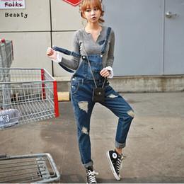 Wholesale Womens Plus Jeans - Wholesale-2015 New Plus size Korean New Womens Jumpsuit Denim Overalls Casual Skinny Girls Pants Jeans