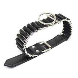 Wholesale Collar S For Adults - MaryXiong PU Leather Neck Collars with Chian Fetish S&M Slave Neck Cuffs BDSM Bondage Restraints Sex Products for Couples Adults 171001