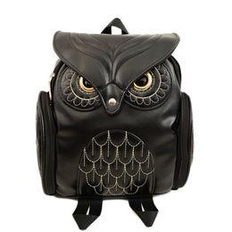 Wholesale Cool Canvas Backpacks - Lady Fashion Women Backpack Newest Stylish Cool Black PU Leather Owl Backpack Female Hot Sale Women shoulder bag school bags