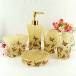 Wholesale Gold Toothbrush - Beautiful Butterfly Floral 5pcs Resin Bathroom Accessories Set Soap Dispenser  Toothbrush Holder  Tumbler  Soap Dish Gold