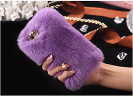 Wholesale Iphone 5s Rhinestone Cases - Soft Touch Fur Rabbit Hair Phone Case Bling Diamond Plush Furry Women Girl Lady Cover for iPhone 7 PLUS 6 6S 5 5s