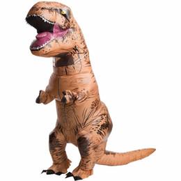 Ropa de mascota online-Traje INFLATABLE T REX Adulto Navidad Mascota Dinosaurio de Halloween Disfraces Disfraces Tyrannosaurus Rex Ropa de Fiesta de Regalo