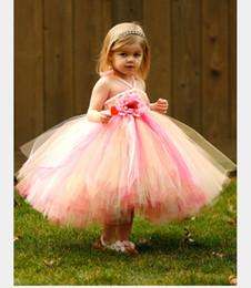 Wholesale Tea Length Halter Wedding Dress - 2015 Cute Lovely Girls Pageant Flower Girl Dresses Handmade Flowers Ruffles A Line Halter Neckline Tea Length Bridal Gown