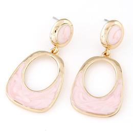 Wholesale Luxury Mother Pearl Fashion - 2015 Summer Style Fashion Geometry Enamel Earrings for Women Vintage Brincos Luxury Gold Pendientes Enamel Stud Earrings