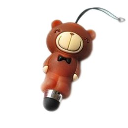Wholesale Dust Plugs Cartoon - Wholesale-New Fashion Cartoon Mobile Phone Tablet Stylus Color Random With Dust Plug Function Drop Shipping OSS-0204