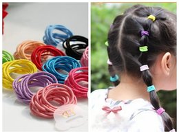Wholesale Black Ponytail Hair Ties - Free Shipping,New 100pcs lot 20 Colors Baby Girl Kids Tiny Hair Accessary Hair Bands Elastic Ties Ponytail Holder FJ3341