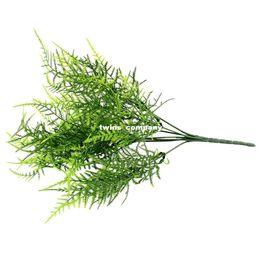 Wholesale Artificial Fern Leaf - Plastic Green 7 Stems Artificial Asparagus Fern Grass Bushes Flower Bonsai Home Garden Floral Accessories