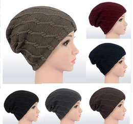 Wholesale Snow Hats - Women Cap Knitted Beanies Skiing Snow Warm Cap girl Hats Slouchy Caps Solid stretchy Skiing Snow Warm Cap Hats LJJK824