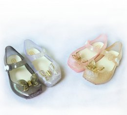 Wholesale Fragrance Baby - Melissa jelly shoes 2018 summer new girls butterfly princess Sandals children beach shoes Baby kids crystal fragrance sandals R0903