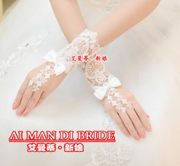 Wholesale Gloves Gown - Beautiful White Sheer Fingerless Lace Wedding Glove Bridal Gown Ball Glove Wedding Dress Accessories New Arrival 2015