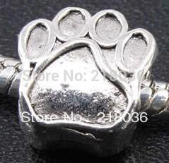 Wholesale Pandora Dog Charm Bracelet - 100pcs Tibetan Silver Alloy Dog Paw Prints Spacer Bead Charms For Pandora Bracelet Woman DIY Metal Jewelry Findings Accessories 11*10mm A225
