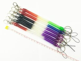 Wholesale Led Elastic Ball - Plastic key chain spring plastic springs buttoned elastic rope Phone Strap
