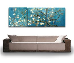Wholesale trees canvas art - 3 Panels Set Blossoming Almond Tree By Van Gogh Famous Painting Canvas Prints Picture for Home Living Hotel Cafe Wall Decor Art