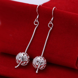 Wholesale chain hanging chandelier - Brand new sterling silver Snake chain hanging hollow ball earrings DFMSE167,women's 925 silver Dangle Chandelier earrings 10 pairs a lot