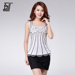 Wholesale Embroidered Tops For Women - Wholesale-Plus size women fashion tank top sexy net cloth ladies tank top t-shirt wear embroidered floral tank top for lady KB-1083