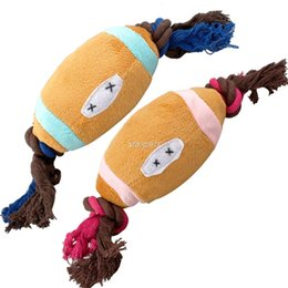 Wholesale Cute Toys For Dogs - 2 Colors Cute Cotton Rope Football Design Pet Dog Squeaker Toys Fit For Puppy