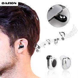 Wholesale Cordless Headsets - Mini Wireless Bluetooth earphone invisible in ear Bluetooth earbuds mini Bluetooth headset with microphone Cordless earphones
