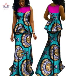 Wholesale Floor Waxing - 2018 New African Skirt Set For Women Sleeveless Traditional Blouse Top and Skirt Set Print Wax Dashiki Plus Size Blouse Skirt Sets WY603