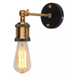 Wholesale metal sconces light - AC90-260V E27 Vintage Industrial Wall Sconce Light Metal Home Wall Decor Simple Single Swing Wall Lamp Retro Rustic Light Fixtures Lighting