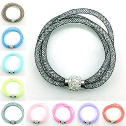 Wholesale White Mesh Wrap - Austrian Crystal Bracelets New Hot Multicolor Mesh 3layer Bracelet with tiny resin crystal filled magnetic wrap bracelets Free shipping