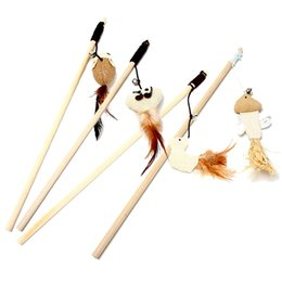 Wholesale Rope Cat - Natural Wooden Funny Cat Stick With Elastic Rope Bell Cats Feather Toys Resuable Eco Friendly Pet Supplies Fashion 2 5wm B