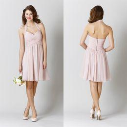 Wholesale White Peach Bridal Gowns - New Chiffon Halter Knee Length Bridesmaid Dresses Short Peach Pink Cheap Summer Beach Bridal Party Gowns Plus Size 2015 Kennedy