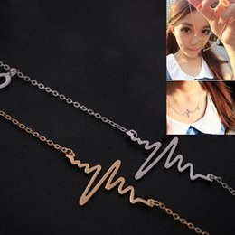 Wholesale Necklace Beat - Wholesale-HOT Trendy EKG Heart Beat Chain Necklace Heartbeat Rhythm with Dangling Heart Womens Jewelry