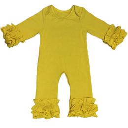 Wholesale High Neck Baby Bodysuit - Mustard Baby Girls Romper High Quality Kids Boutique Clothing New Posh Ruffle Newborn Bodysuit Pajama Hot Sales