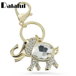 Wholesale Elephant Led - beijia Elephant Big Crystal HandBag Pendant Keyring Keychain Purse Bag Buckle For Car key chains holder Fashion Jewelry K219