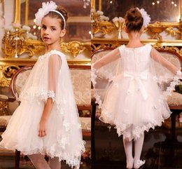Wholesale Shawls For Gowns - Gorgeous White Flower Girls Dresses For Wedding Girls Pageant Gowns With Lace Shawl Knee Length A Line Girls Birthday Party Dresses