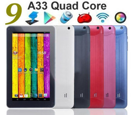 "Wholesale Cheapest Wholesale Tablets - Cheapest 9 inch Quad core Android 4.4 Tablet PC Dual camera AllWinner A33 512M 8GB Capacitive Touch Screen bluetooth 9 "" Tablets"