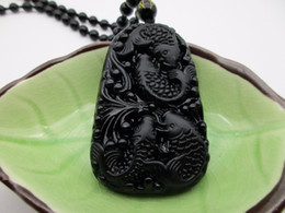 Wholesale Lucky Fish - Chinese Handwork Natural Black Obsidian Carved Fish Happy Reunion Lucky Blessing Pendant Necklace Fashion Jewelry