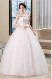 Wholesale Simple Wedding Dresses Korean Style - Embroidery White 2016 New Fashion Princess Korean Style Wedding Dresses Luxury Floor-length Lace up Ball Gown Wedding Dress CC040
