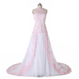 Cheap halter wedding dress corset - New Coming A Line Wedding Dresses 2016 Tulle Lace Halter Custom Made Size US 2 4 6 8 10 12 14 16++ W1491 Corset Long Formal Gowns Real Photo