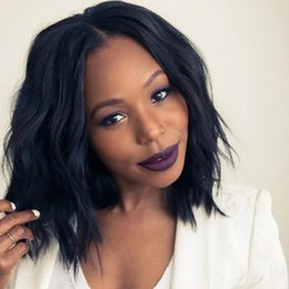 Wholesale brazilian hair wig afro - Newest Fashion Short BOB Black Wavy Hair Afro Wig Siulation Brazilian Human Hair Wigs Full Wigs In stock For Black Women Y demand