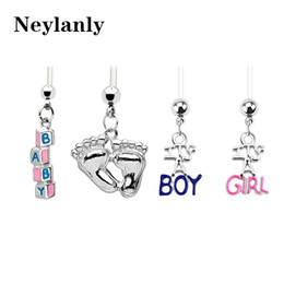 Wholesale Pregnant Belly Rings - 12PCS Mix Pregnant Navel Piercings Crystal Rhinestone Baby Feets Belly Button Ring Dangle Navel Body Jewelry Piercings B0041