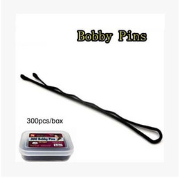 Wholesale Hair Packing Box - Wholesale-Free shipping 300pcs lot 5cm black plated hair bobby pins ball tipped metal hair clips with box packing