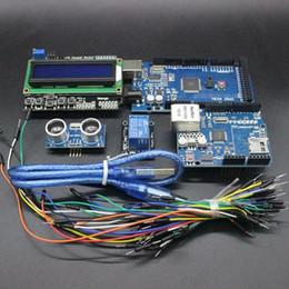 Wholesale Arduino Uno Breadboard - Wholesale-Free Shipping Mega 2560 r3 for arduino kit + HC-SR04 +breadboard cable + relay module+ W5100 UNO shield + LCD 1602 Keypad shield