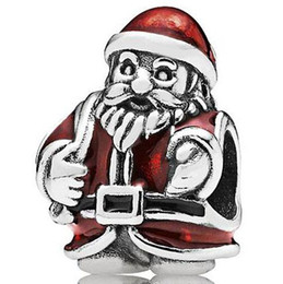 Wholesale Glass Beads Santa - Wholesale Red Clothes Santa Claus Charm 925 Sterling Silver European Charms Beads Fit DIY Snake Chain Bracelet Fashion Jewelry