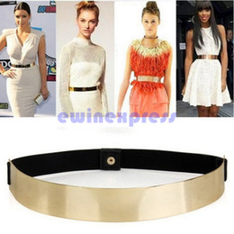 Wholesale Gold Metal Plate Belts - Fashion Women's Hip Wide Waist Shiny Gold Plated Mirror Metal Elastic Bling Belt Brand New And Good Quality