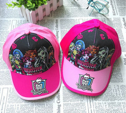 Wholesale Children Baseball - New Baby Hats Children Girls Cotton Cap Kids Cartoon Monster High Print Sun Hat Baseball Cap 3-8 Years