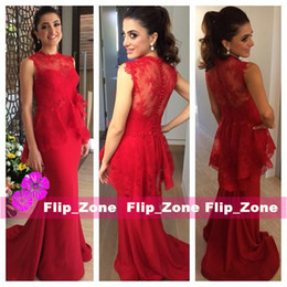 Wholesale illusion dinner dresses - Red lace Mermaid evening dress with long jewel sheer back elegant women prom party dresses with peplum customized dinner gowns samll train