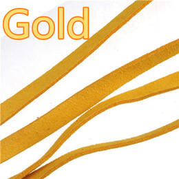 Wholesale Diy Leather Flat Cord - Wholesale 10mm Leather Cords Flat Wide Imitate Soft Suede Candy Color Gold Jewelry Findings For DIY Key chains Bracelets Dog Necklaces 10m