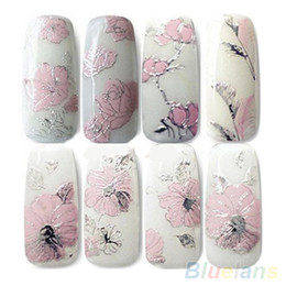 Wholesale Decal Sheets - 3D Nail Stickers Embossed Pink Flowers Design Nail Art Decal Tips Stickers Sheet Manicure 1ORG