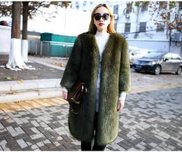 Wholesale Women Fur Winter Coats Xxl - New design winter women's v-neck long sleeve thickening warm faux fox fur solid color long parka coat casacos plus size XXL
